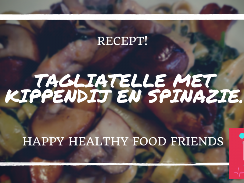 Tagliatelle met kippendij en spinazie