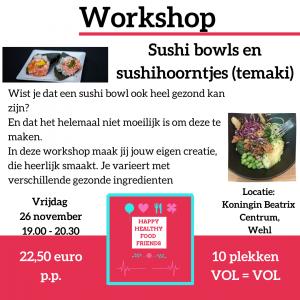 Workshop sushibowls en sushihoorntjes (temaki)
